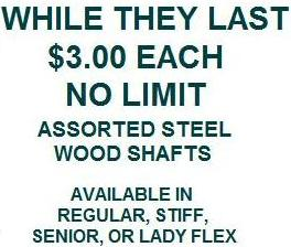 Steel Wood Shaft Closeouts